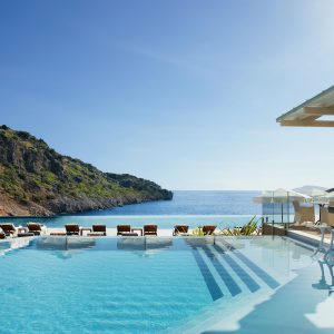 main pool at daios cove greece hotel