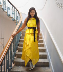 Amanda wakeley Evie de haan royal academy 250th anniversary pop up party Bonnie Rakhit yellow outfit