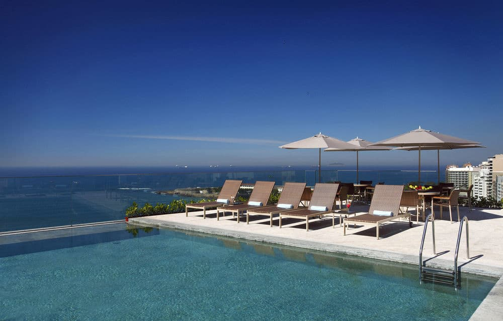 beautiful rooftop swimming pool at Miramar by Windsor Rio de Janeiro Brazil style traveller