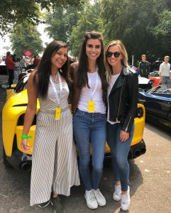 Bonnie Rakhit Goodwood festival of speed with Ferrari sports cars vip pass female racing Lara Heller Miss Emma Walsh