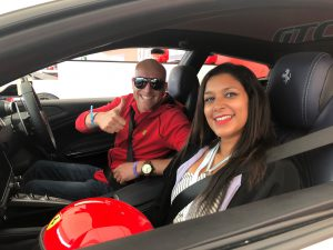 Bonnie Rakhit Goodwood festival of speed with Ferrari sports cars vip pass female racing driver experience