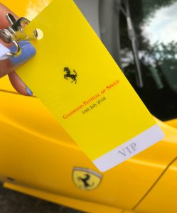 Bonnie Rakhit Goodwood festival of speed with Ferrari sports cars vip pass
