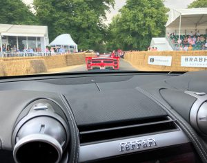 Bonnie Rakhit Goodwood festival of speed with Ferrari sports cars vip pass female racing driver experience La Ferrari