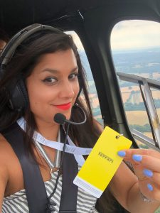 Bonnie Rakhit helicopter ride to Goodwood with Ferrari sports cars vip pass