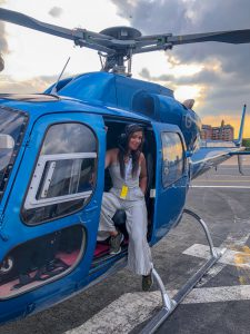 Bonnie Rakhit helicopter ride to Goodwood with Ferrari sports cars