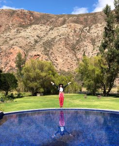 Best hotel in Sacred valley Peru.Belmond Rio Sagrado swimming pool Bonnie Rakhit