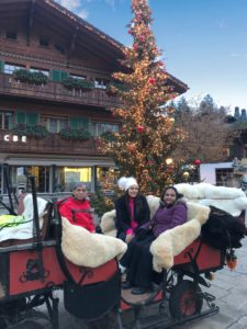 Bonnie Rakhit style traveller, family ski holiday horse carriage ride