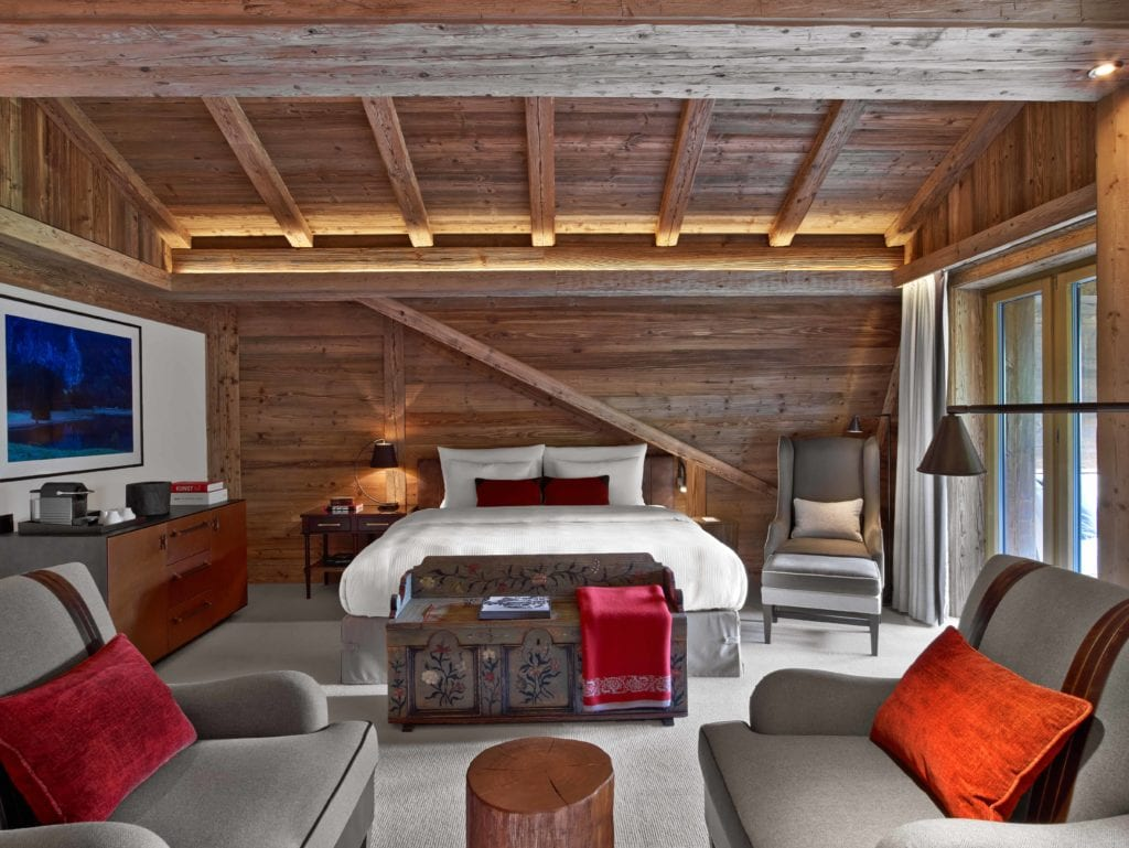 The Alpina Gstaad luxury ski hotel Ski Bonnie Rakhit world best ski hotel bedroom