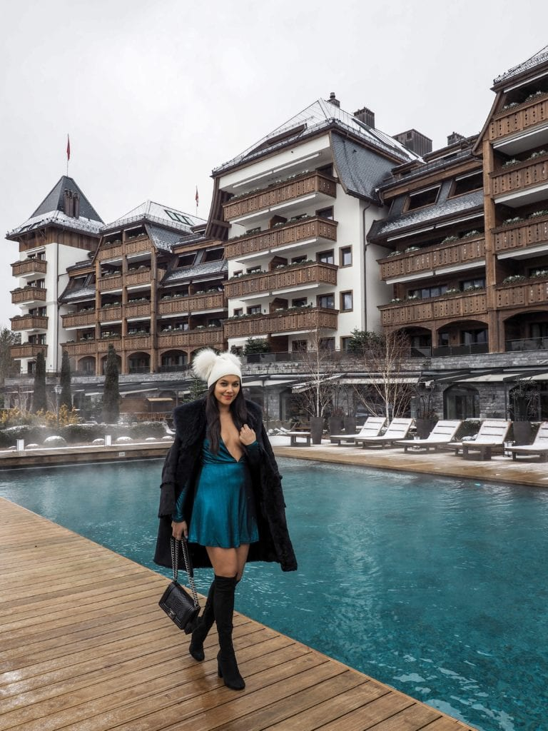 The Alpina Gstaad - Madonna's £17,000 A Night Ski hotel swimming pool Bonnie Rakhit