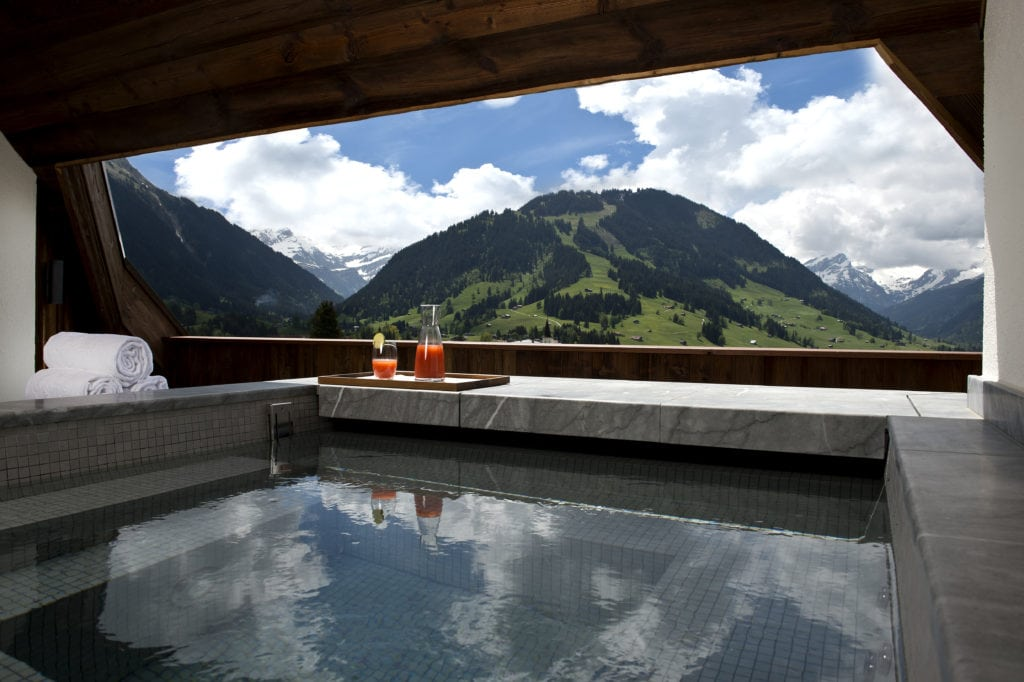 The Alpina Gstaad - Madonna's £17,000 A Night Ski hotel swimming pool Bonnie Rakhit Panorama Suite hot tub