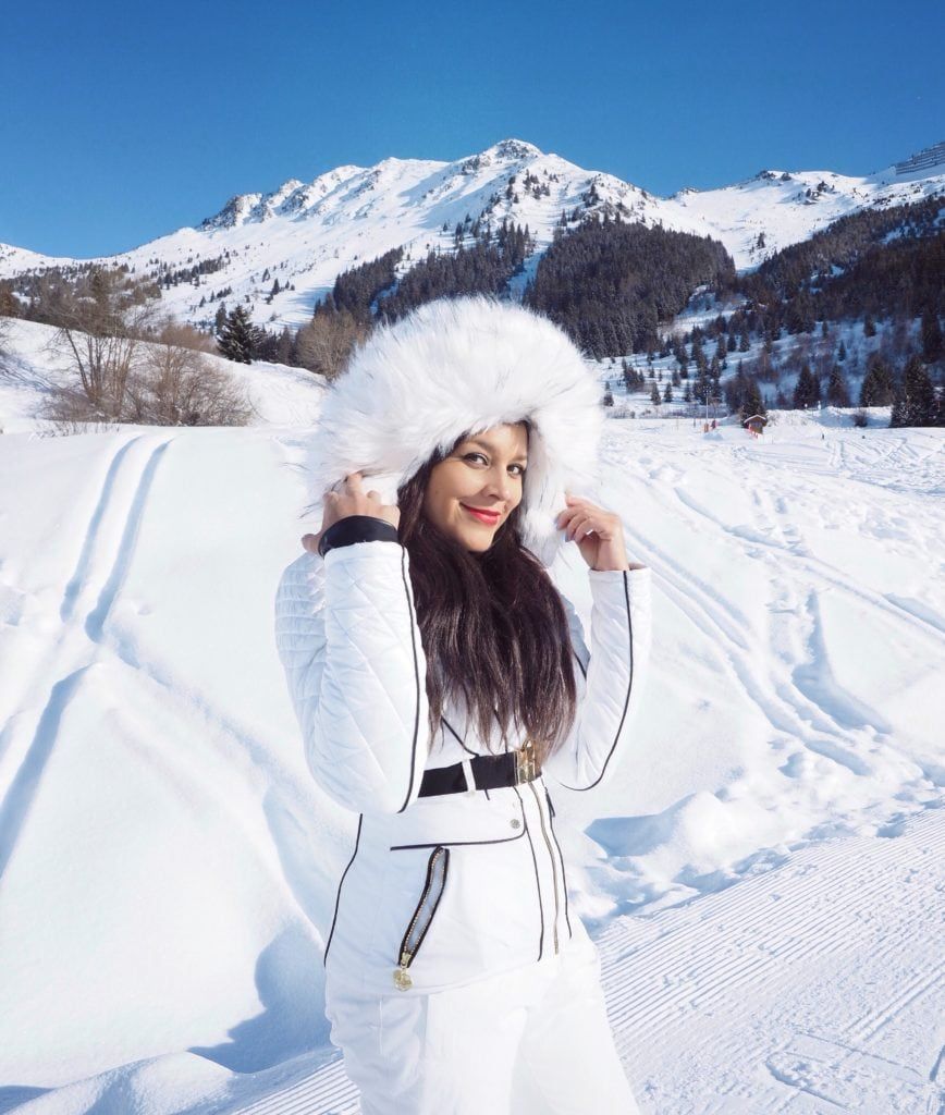 Experimental Chalet, Verbier - Coolest New Hotel in The Alps Bonnie Rakhit wearing Julien MacDonald Dare2Be ski suit