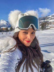 Verbier what to wear ski outfits The Alps Bonnie Rakhit wearing Julien MacDonald Dare2Be ski suit