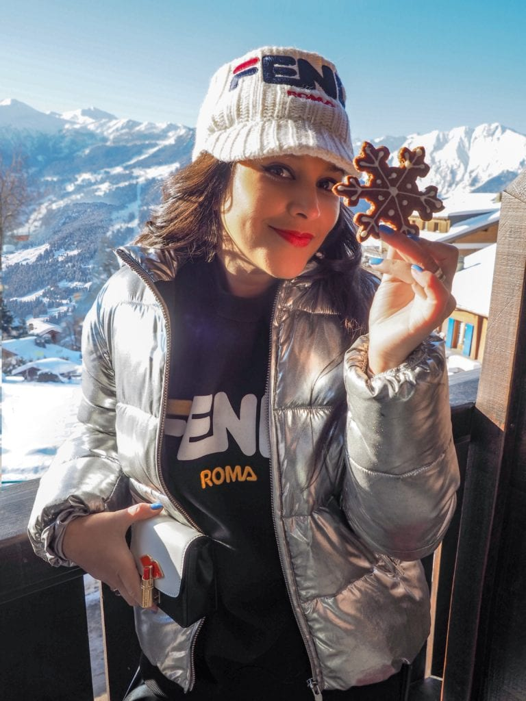 Bonnie Rakhit Fendi ski wear Verbier ski outfits revolve jacket