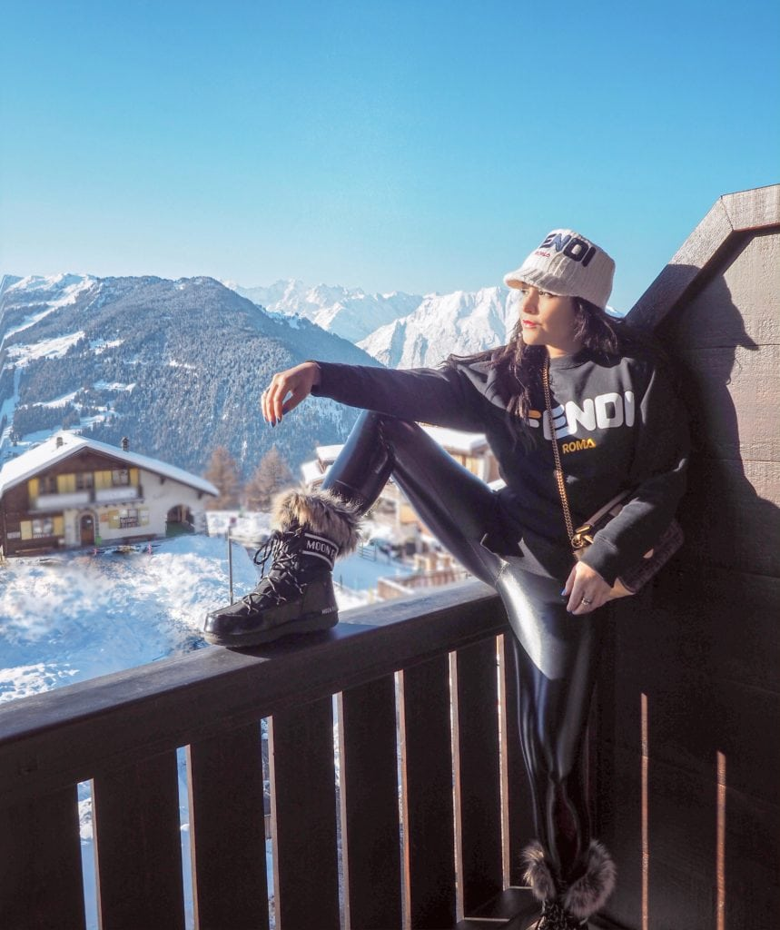 Bonnie Rakhit Fendi ski wear Verbier ski outfits