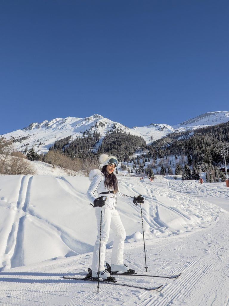 Experimental Chalet, Verbier - Coolest New Hotel in The Alps Bonnie Rakhit wearing Julien MacDonald Dare2Be ski suit fashion