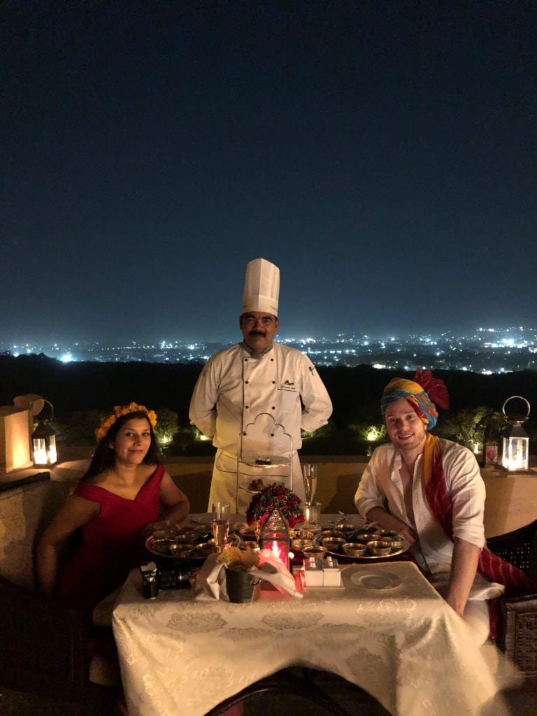 rooftop dinner at the Umaid Bhawan palace Bonnie Rakhit