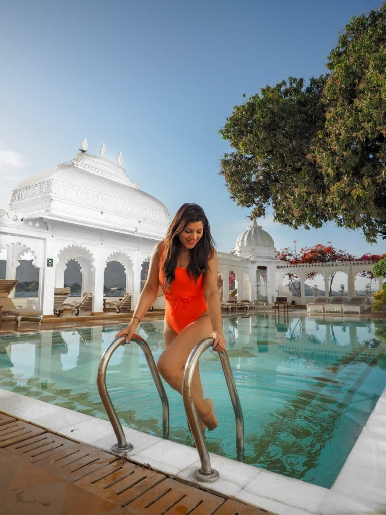 Staying at Taj Lake Palace Hotel, Udaipur Bonnie Rakhit marble swimming pool and spa Bonnie Rakhit