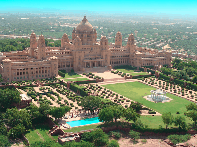 Umaid Bhawan Palace Taj Jodhpur best India luxury itinerary drone shot