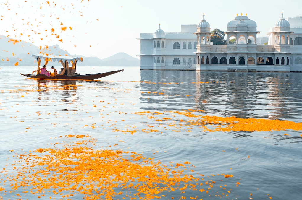 Taj lake palace water view lake boat arrival