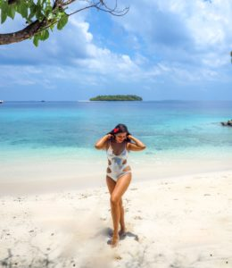Bonnie rakhit private beach Westin Maldives Melissa odabash swimsuit