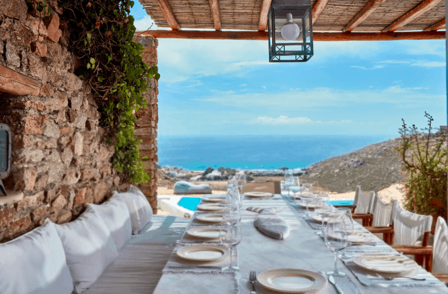 Dolce Vita Villas Mykonos best luxury greek al fresco dining
