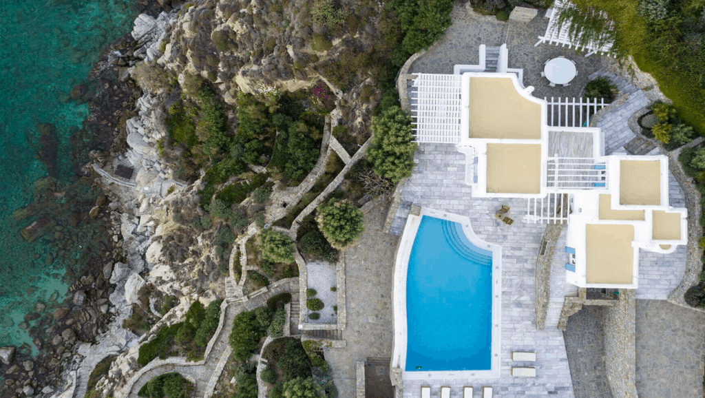 villa sui generis best villas in Mykonos drone view