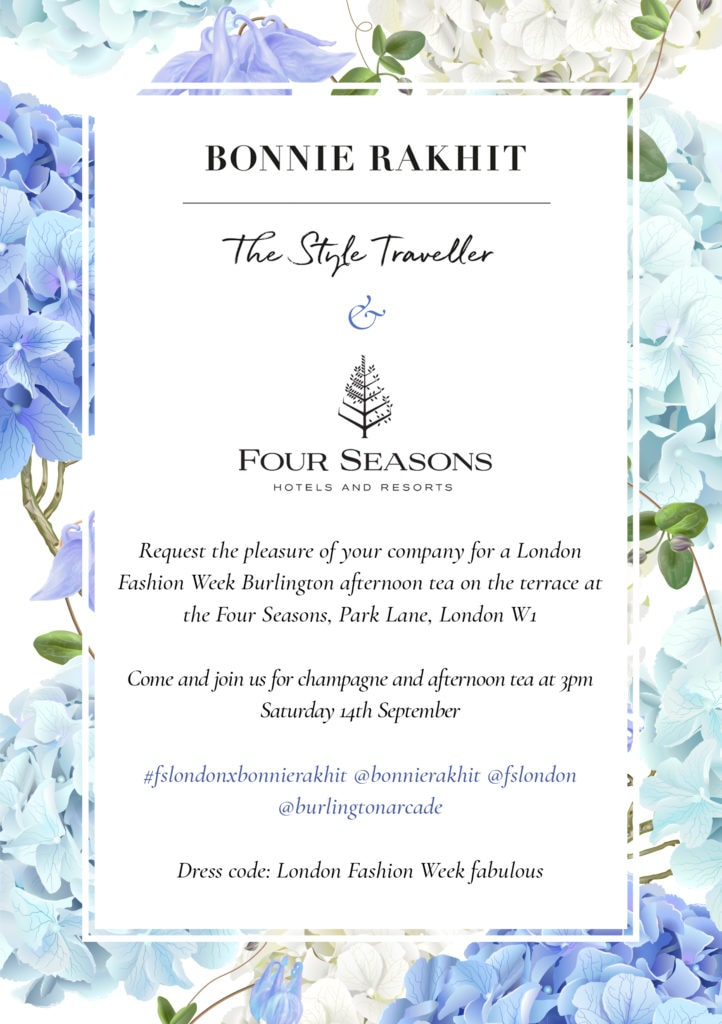 Four Seasons London X Bonnie Rakhit Fashion Week Afternoon Tea invitation