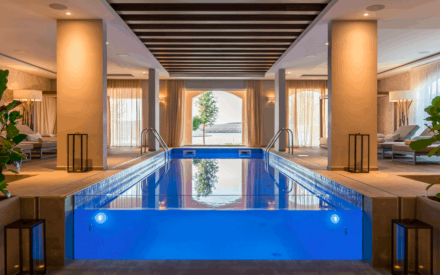 Chedi montenegro suite interiors where to stay design hotel glass front swimming pool