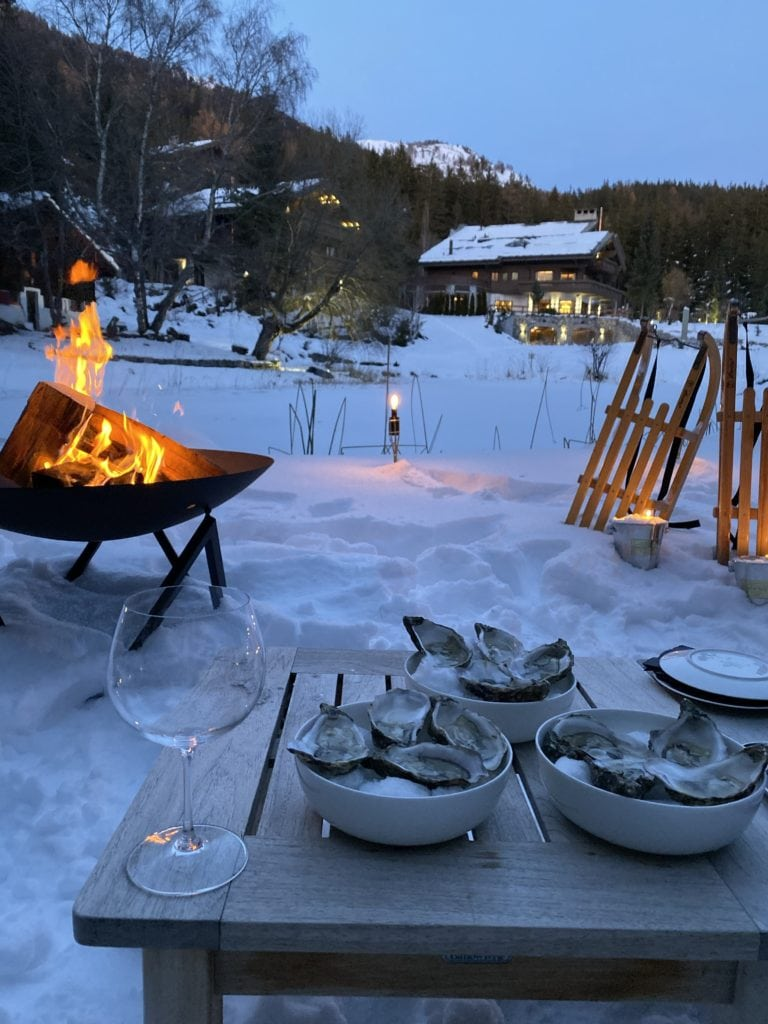 The Ultimate Luxury Ski Chalet - Ultima Crans Montana, Switzerland Bonnie Rakhit .snow bomfire oysters
