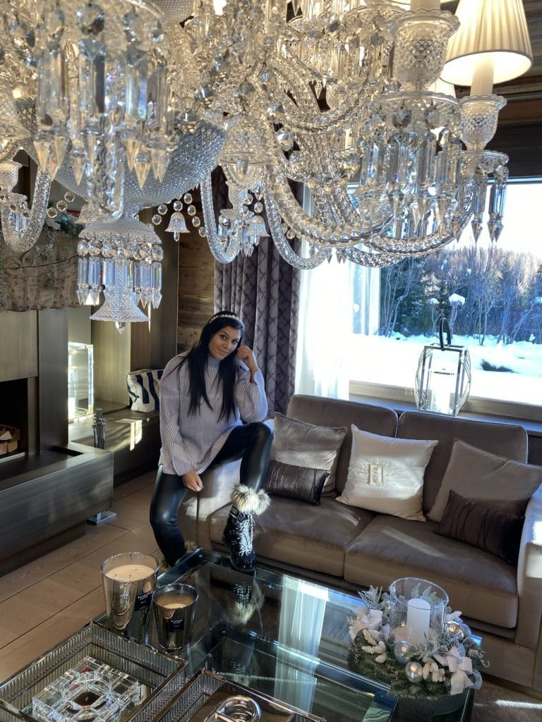 The Ultimate Luxury Ski Chalet - Ultima Crans Montana, Switzerland Bonnie Rakhit chandelier living room interior