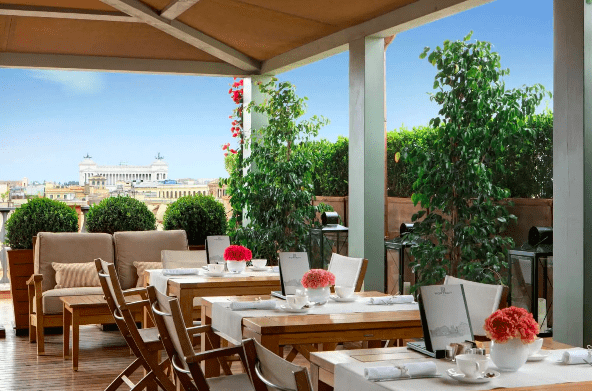 Sweeping views of Rome's beloved sites from the hotels rooftop restaurant